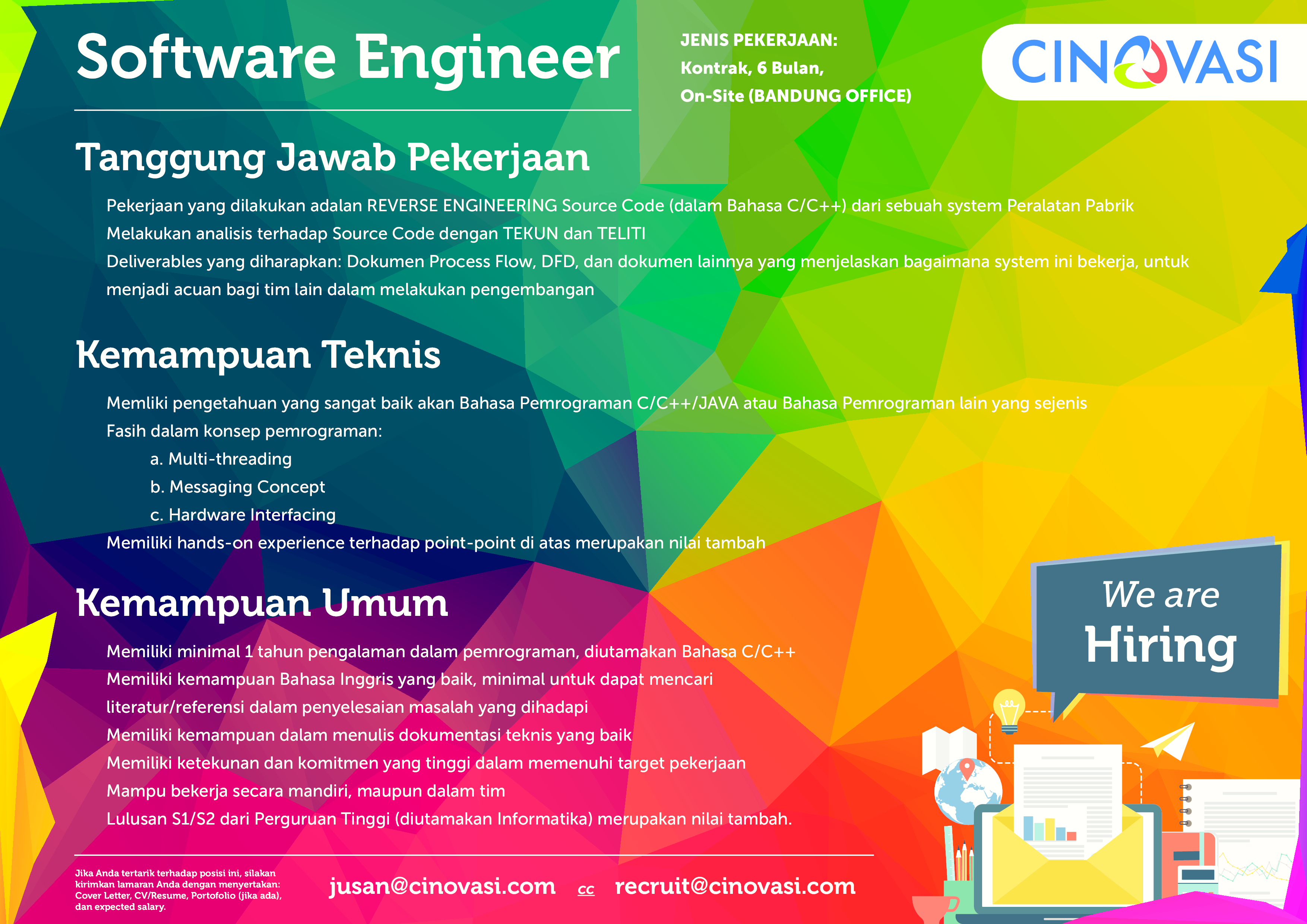 Info Loker Pt Cinovasi Rekaprima Sebagai Software Engineer Career Development Center Unikom